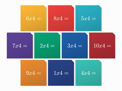 Maths tiles 4 times tables