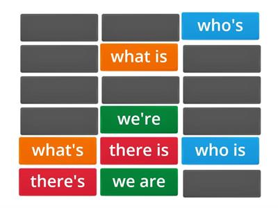 Match the words to the contraction ('s, 've, 're)