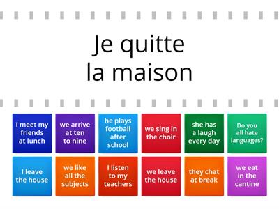 French - school ER verb phrases