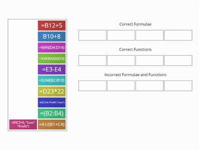 Formulae and Functions Group Sort