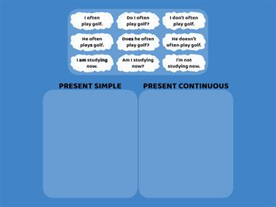 Present Simple and Present Continuous - choose