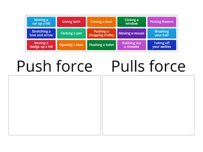 1. Push and pull forces sort