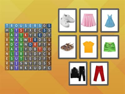 Treetops 2 - Unit 7: My clothes (wordsearch)