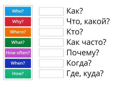 Question words 3 кл