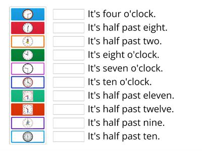 Telling the Time (o`clock /half past)