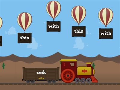 Pop the Word Wall Word - Match up the Balloon with the correct train car - Say the words as you pop them