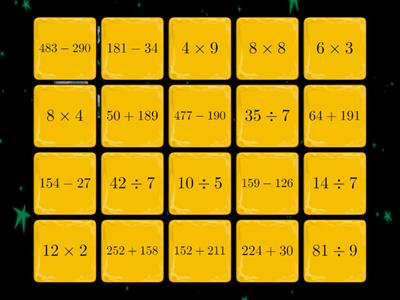 Mix of Maths tiles or 4 operations (20 Qs)
