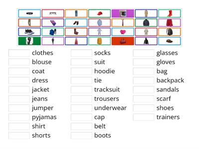 VOCAB - PEOPLE: Clothes & accessories