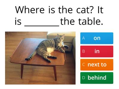 Sentences - Prepositions of place