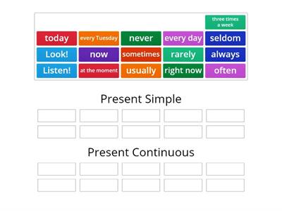 Present Simple vs. Present Continuous (tense markers)