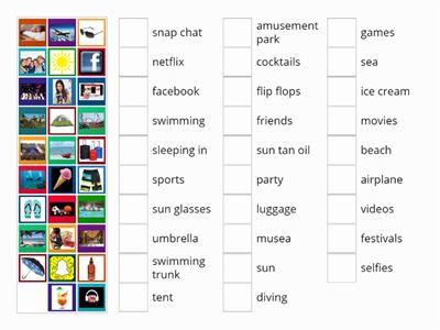 1BL& 1CL Summer holiday vocabulary