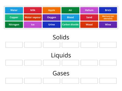 solids liquids gas (using Group sort)