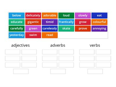 adjective, verb and adverb sort