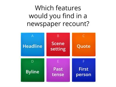 Features of a newspaper recount quiz