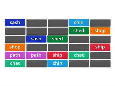sh, ch, ck digraph matching pairs