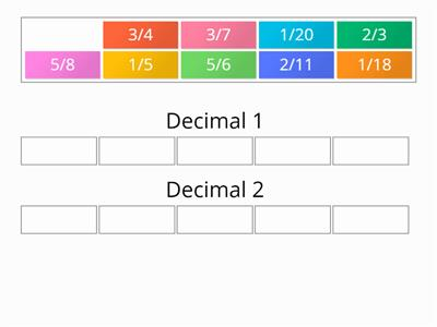 Group sort recurring terminating decimals