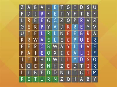 prefix re- Wordsearch