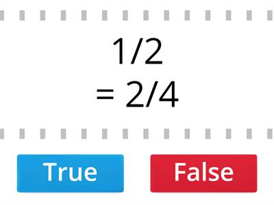Equivalent fractions: true or false?
