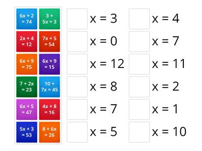 Match Up Solving 2 Step Equations