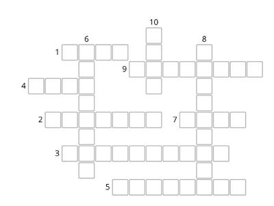Crossword Puzzle Review of Words in Class 6: Write the word according to the clue: