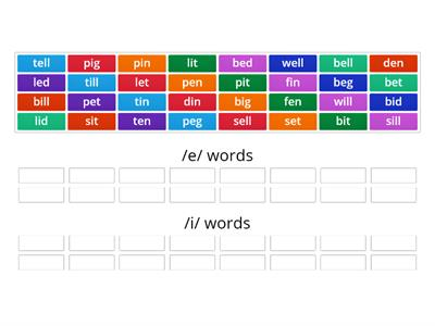 Contrast /e/ and /i/ Word Sort