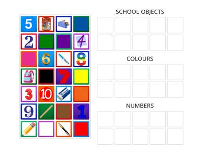 COLOURS, SCHOOL OBJECTS AND NUMBERS