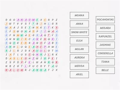 Disney Princess Word Search