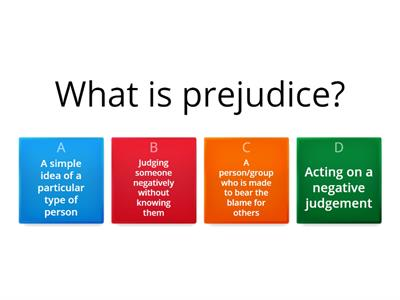 Revision Quiz for Prejudice - PAH ENG