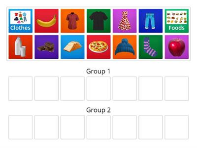 Foods and Clothes Sorting Game