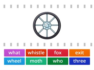 Match the picture and the word x, wh, th