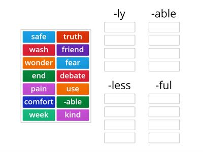 Suffixes- ly, able, less, ful