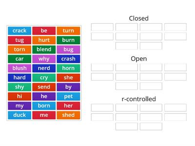 Open Closed r-controlled Syllables Sort AW 5/6