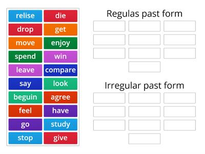 Regular and irregular past forms.