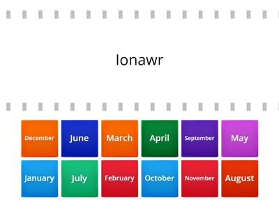 Find the match - Welsh and English months