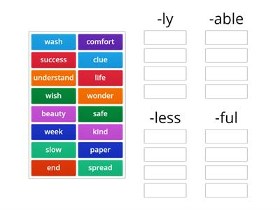 Suffixes Sort- ly, able, less, ful
