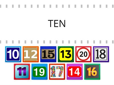 English Numbers from 10 to 20