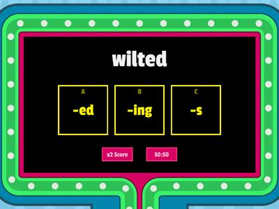 Suffix Game Show -ed, -s, -ing, -er, -est