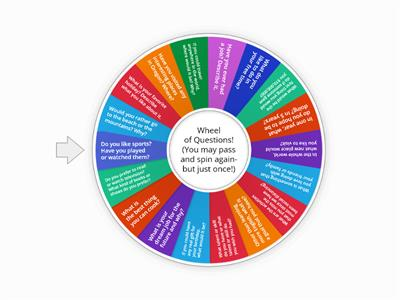 Wheel of Questions (ESL Getting to Know You!)