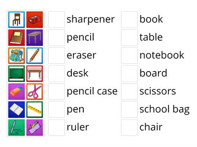 Matching-Classroom Objects