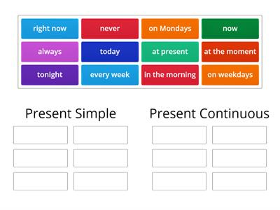 Present Simple vs Present Continuous. Time expressions