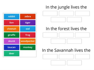 Savannah, forest and jungle animals
