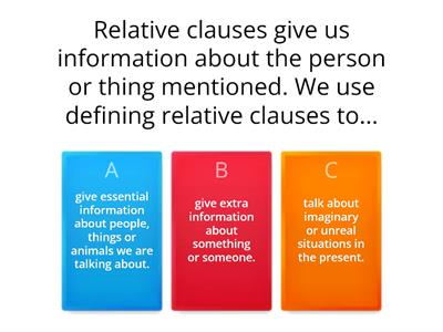 Relative Clauses : defining and non-defining summary