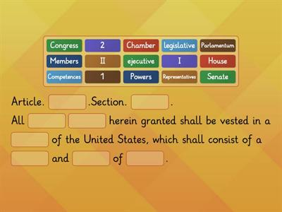 Article I.1 CONSTITUTION of the UNITED STATES.