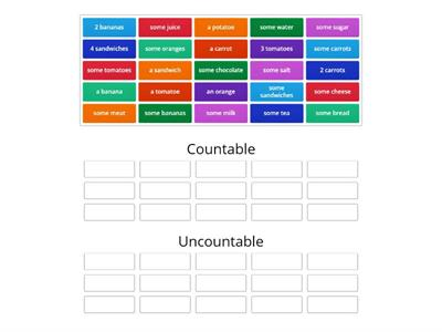 countable and uncountable