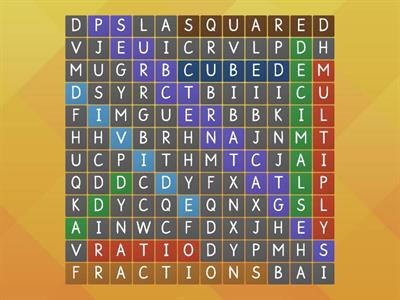 Maths terminology   Wordsearch