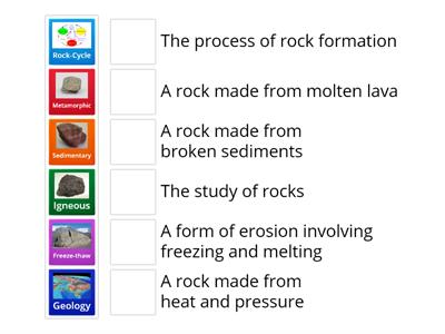 Match up1 The rock cycle