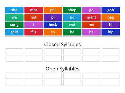 Sorting Open and Closed Syllables