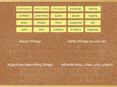 Sorting Word Classes (noun, verb, adjective, adverb)