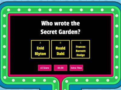 Mrs Weaire`s Fun Friday Quiz - Secret Garden