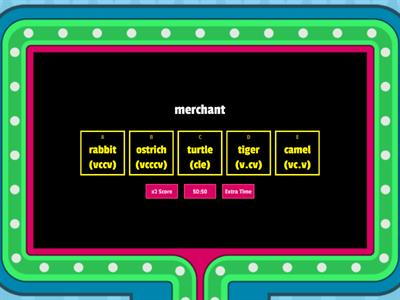 rabbit, ostrich, turtle, tiger, and camel words
